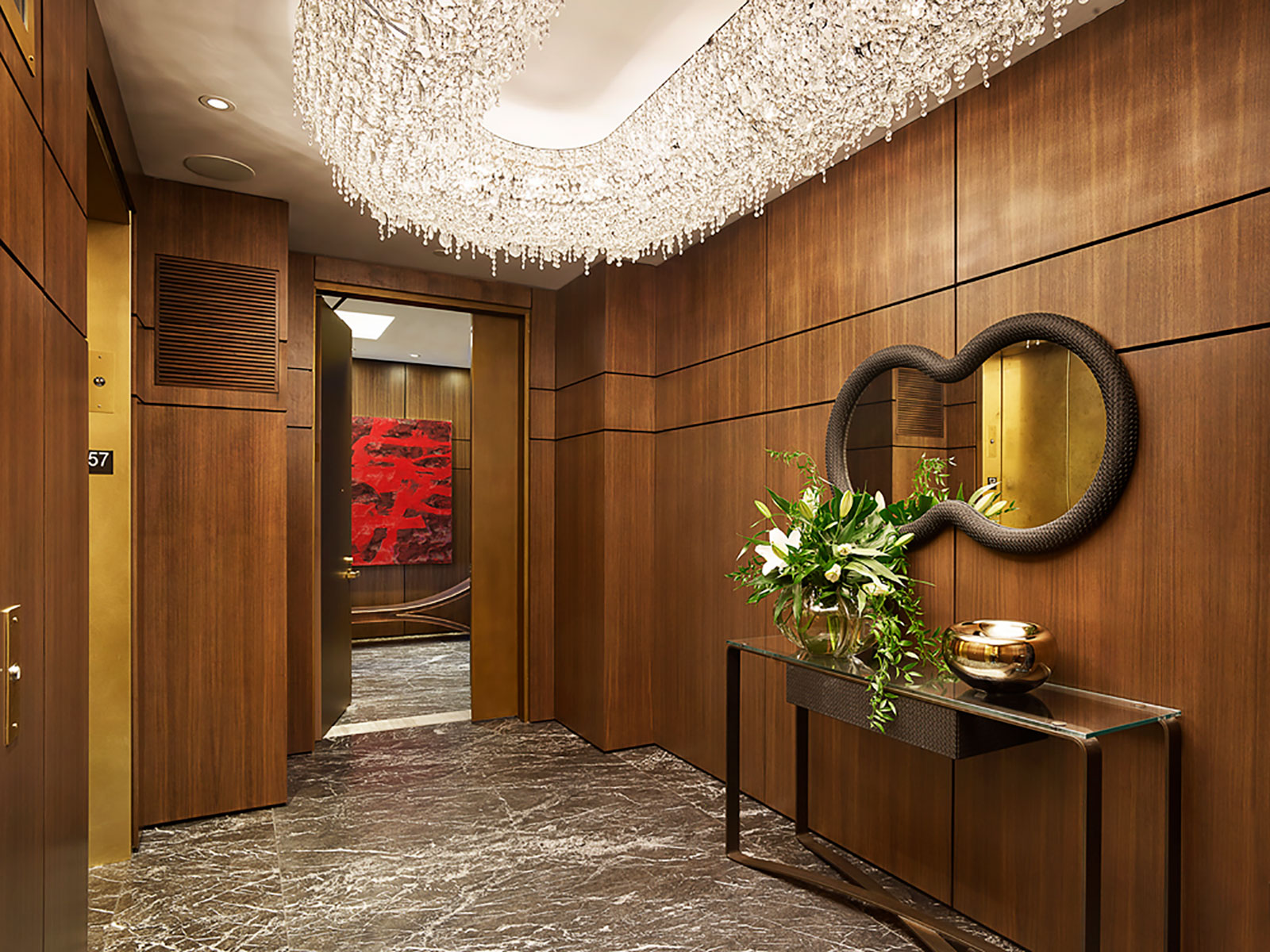 grand penthouse wood clad elevator lobby