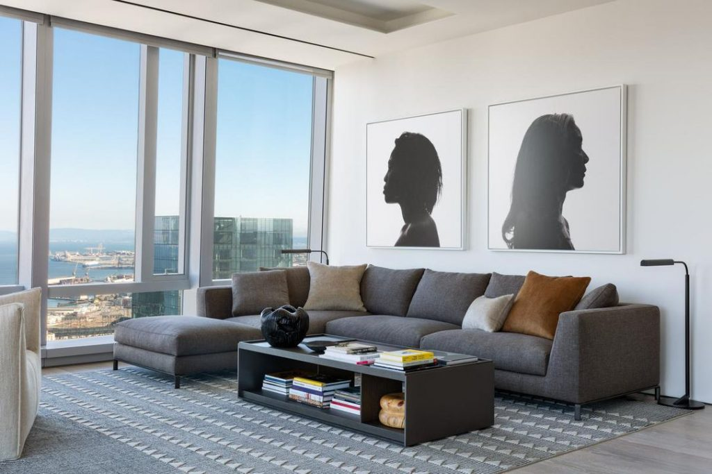 Bright living room with artwork