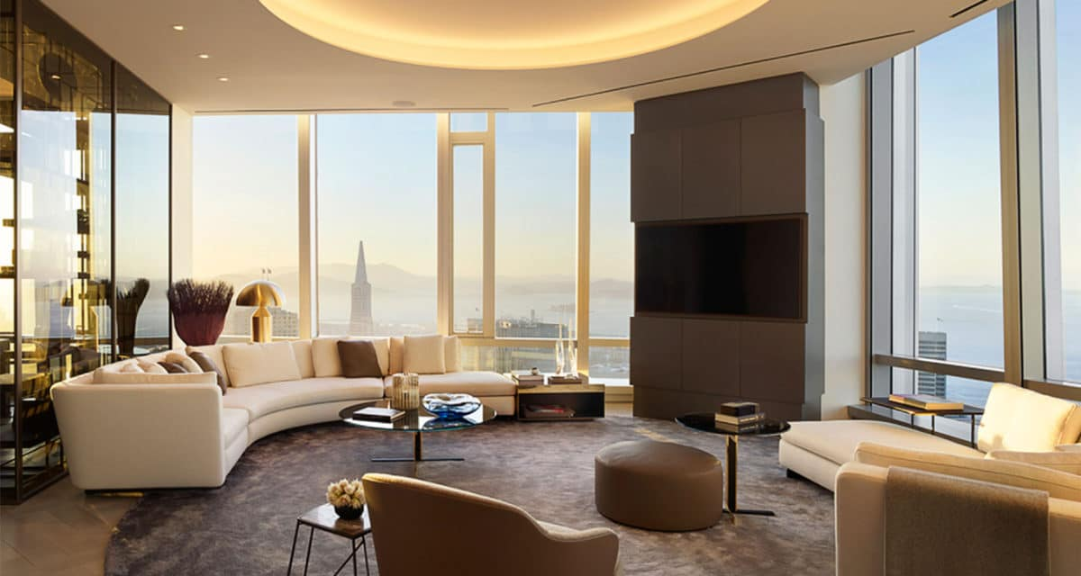 Grand Penthouse Living Room at Dusk