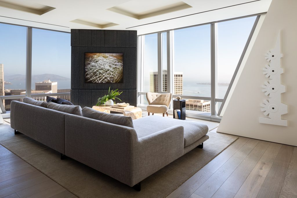 Living Room with Bay views and art installation