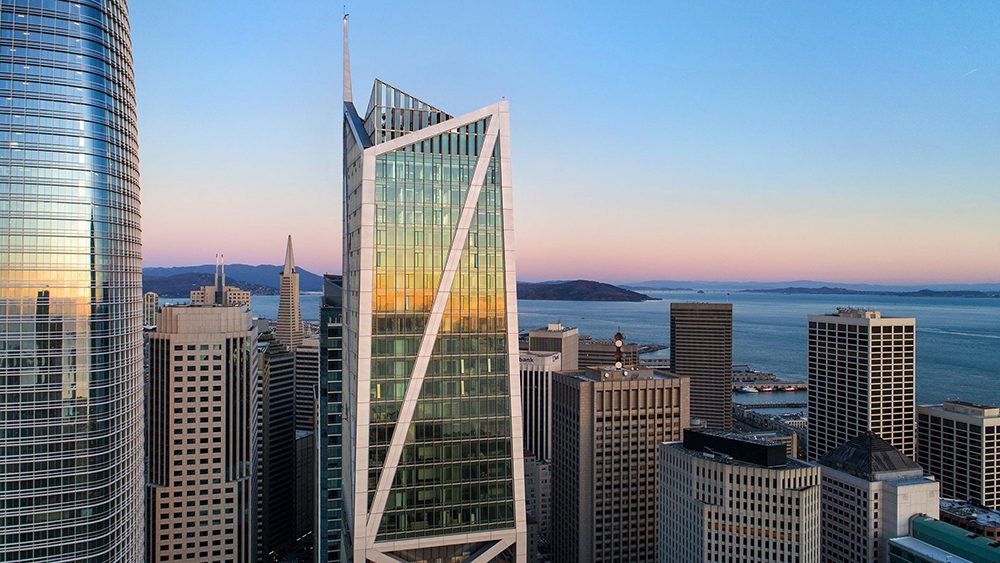 Sunset reflection on 181 Fremont Exterior Facade