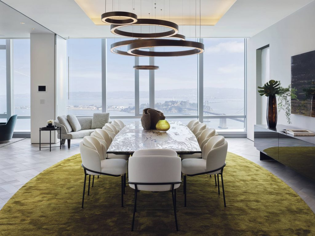 Grand Penthouse Dining Room with Floor-to-ceiling windows and panoramic views
